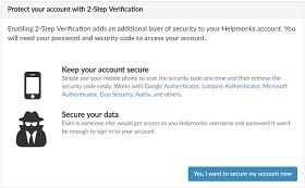 Helpmonks 2-Step Verification protect your account with Two-Factor