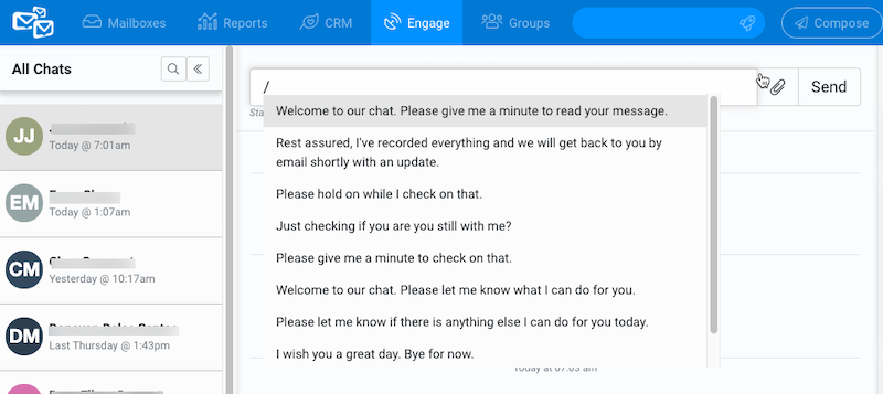 Helpmonks Live-Chat Saved Replies