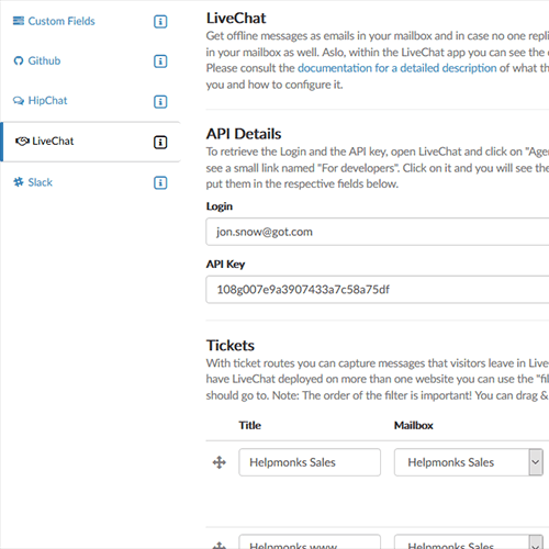 Seamless integration of LiveChat in Helpmonks